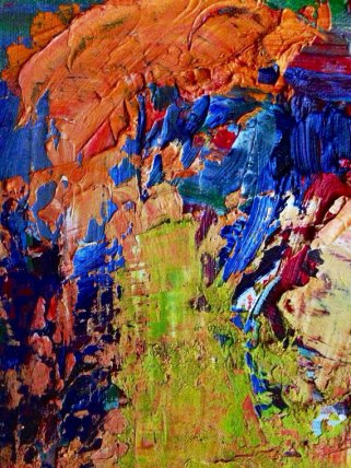 "Close up of ""Sympostic"", an abstract oil painting by TJ Walkup."
